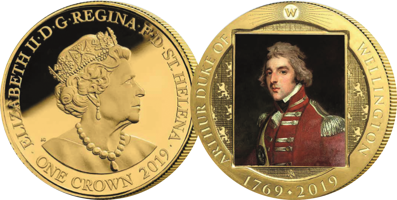Image featured on this coin is Lieutenant Colonel Arthur Wellesley wearing the uniform of the 33rd Regiment