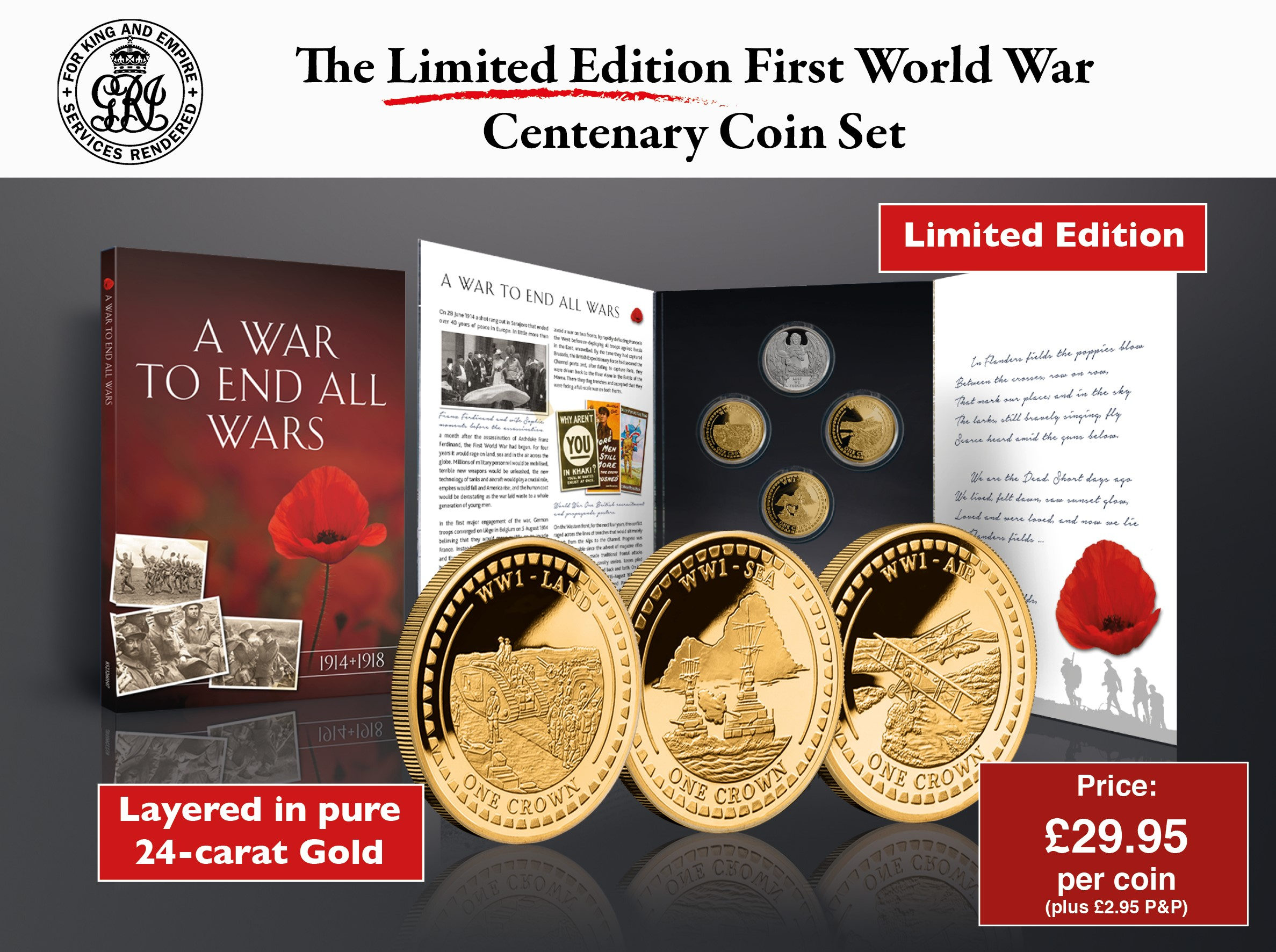 World War One Centenary Set Land, Sea & Air
